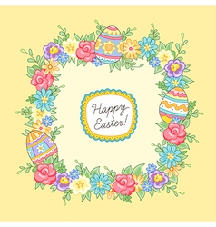 Easter wreath yellow square vector image