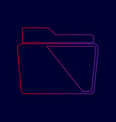 folder sign line icon with vector image