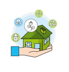 Hand with house and power cable to environment vector