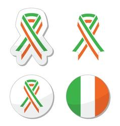 Irish ribbon flag labels - St Patricks Day vector image