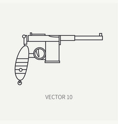 Line flat military icon - pistol army vector