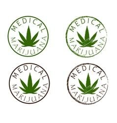 Medical marijuana emblems cannabis leaf silhouette vector
