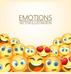 modern yellow laughing three emoji emotions vector image