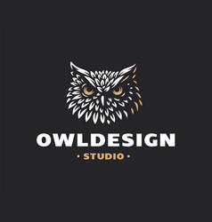 owl head logo- emblem design vector image vector image