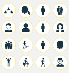 People icons set collection of happy scientist vector
