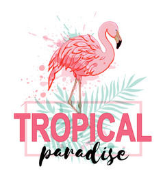 Pink flamingo and green palm leaves vector