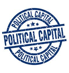 Political capital blue round grunge stamp vector