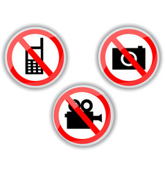 Prohibiting signs with telephone video and photo vector