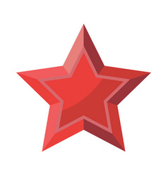 Red star with shadows isolated on white background vector