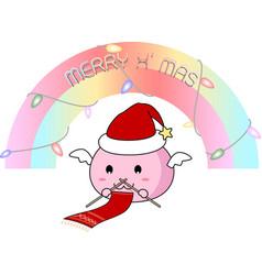 Santa slime knitting christmas scarf vector