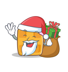 santa waffle character cartoon design with gift vector image vector image