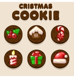 Set cartoon chocolate christmas cookies biskvit vector