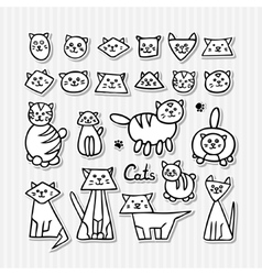 Set of hand drawn funny cats on grey striped vector