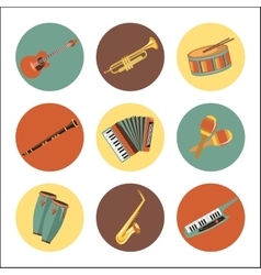 Set of music instruments icons Flat style design vector image vector image