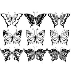 set of nine ornamental butterflies vector image