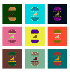 Set pixel icons of cheeseburger vector