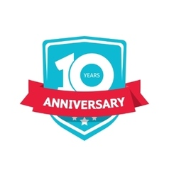 Ten 10 years anniversary sticker blue 10th vector image vector image