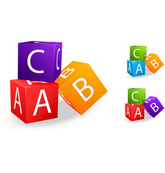 Toy cubes with letter a b c vector