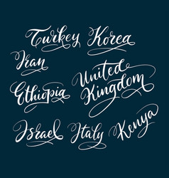 turkey and korea hand written typography vector image vector image