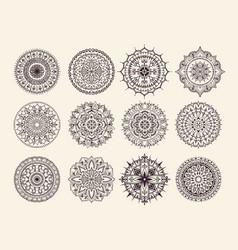 Twelve circular ornaments vector