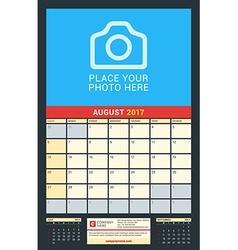 Wall calendar for 2017 year august design print vector