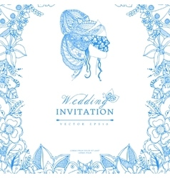 wedding invitation zentangl vector image