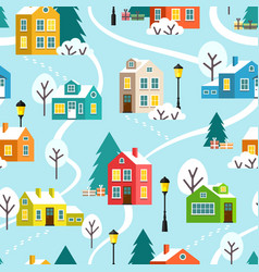 winter town or village seamless pattern vector image