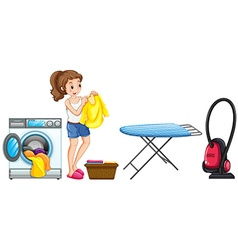 Woman doing laundry at home vector image