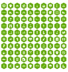 100 sport life icons hexagon green vector