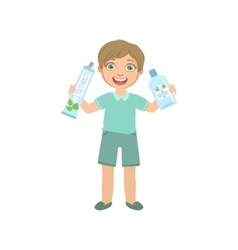 Boy holding big toothpaste tube and mouthwash vector