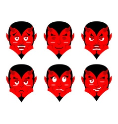 Emotions devil set expressions avatar satan red vector
