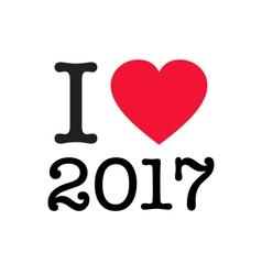 i love 2017 vector image