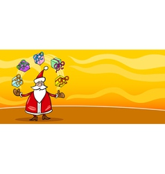 Santa claus and presents cartoon card vector