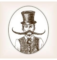 Vintage gentleman sketch style vector image