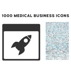 Rocket calendar page icon with 1000 medical vector
