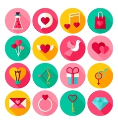 Happy Valentine Day Flat Icons vector image