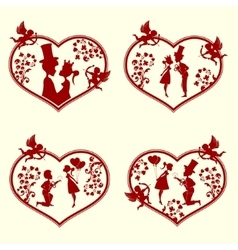 The guy with the girl and cupidsset vector image