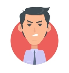 Angry man avatar web button wicked male emotion vector