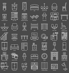 Room furniture linear icons set vector