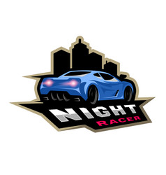 Night street racer emblem logo vector