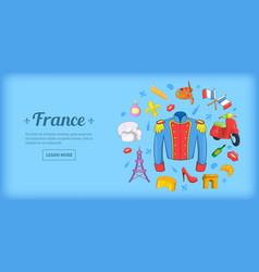 France travel horizontal banner cartoon style vector