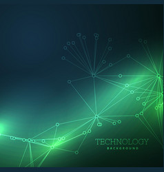 Lines wire on green technology background vector