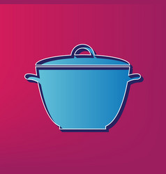 Saucepan simple sign  blue 3d printed icon vector
