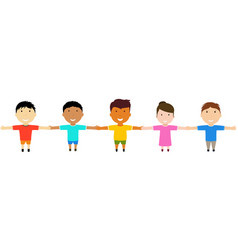 Group of happy friends holding hands vector