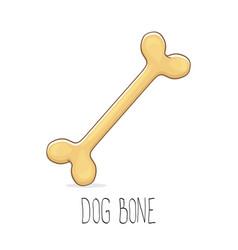 Funny cartoon cute brown dog bone vector