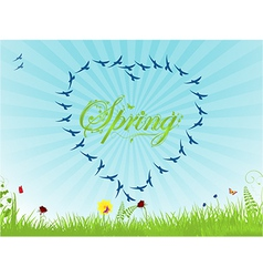 Spring background with birds forming an heart vector