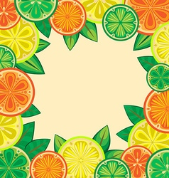 Decorative frame of oranges lemons and limes vector
