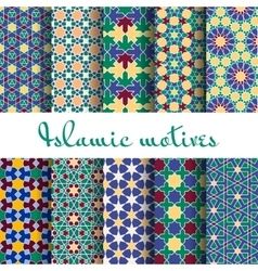 Arab spring seamless pattern set vector