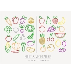Flat fruits vegetables icons color vector
