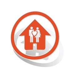 Couple house sign sticker orange vector